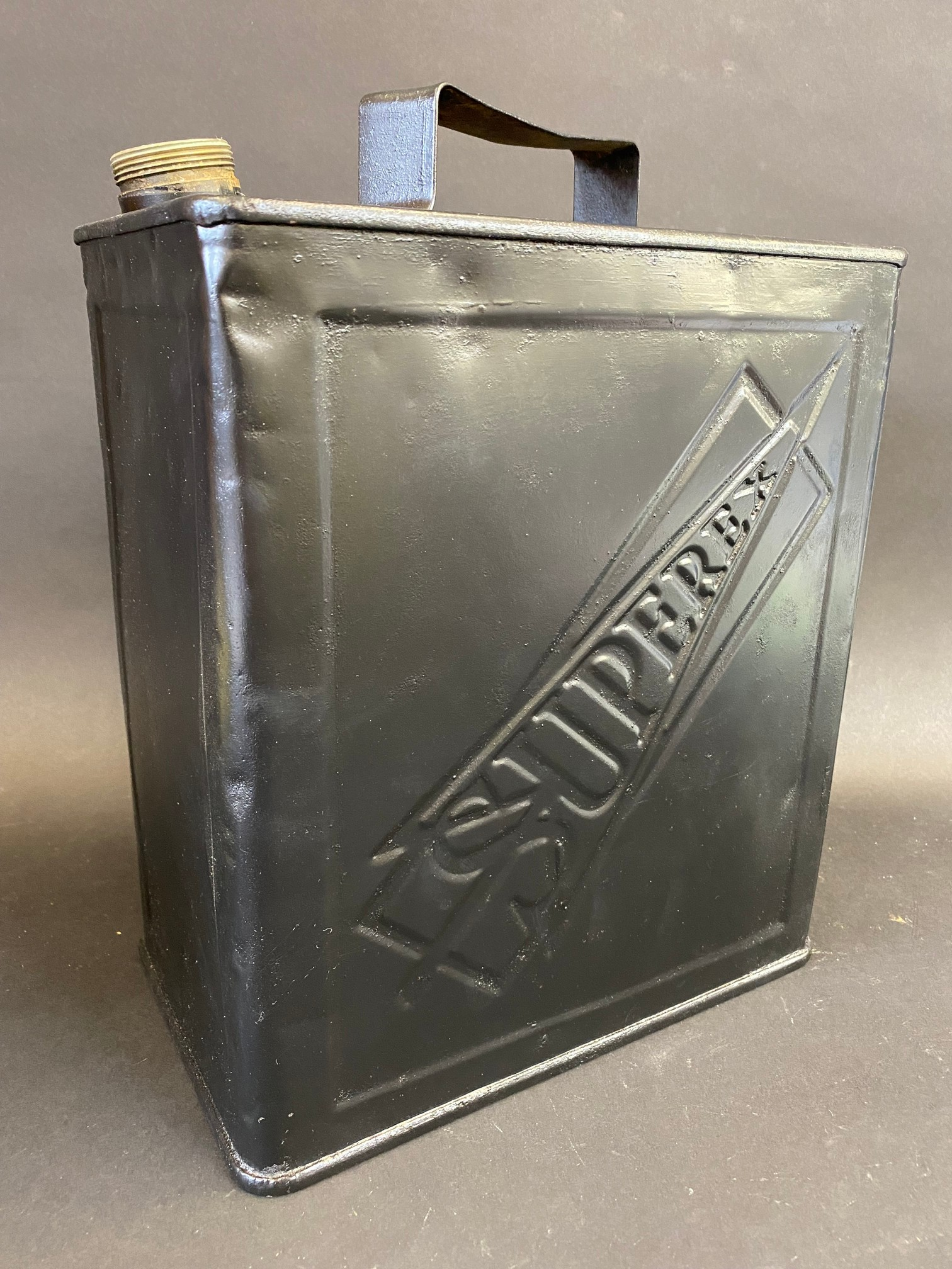 An Esuperex two gallon petrol can in straight condition.