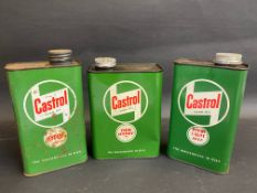 A Castrol Gear Oil three pint can in good condition and two similar quart cans.
