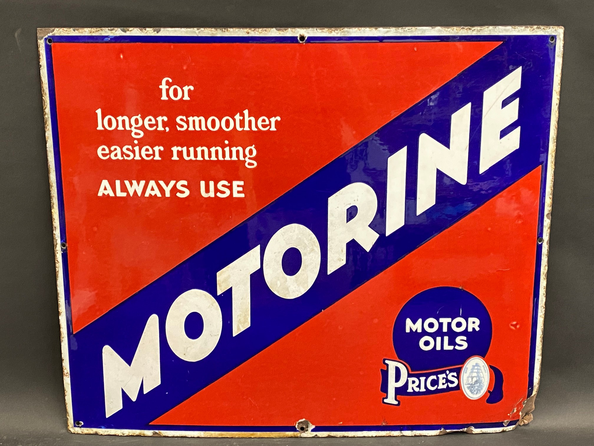 """A Price's Motorine rectangular enamel sign by Bruton of Palmers Green, 25 x 21""""."""