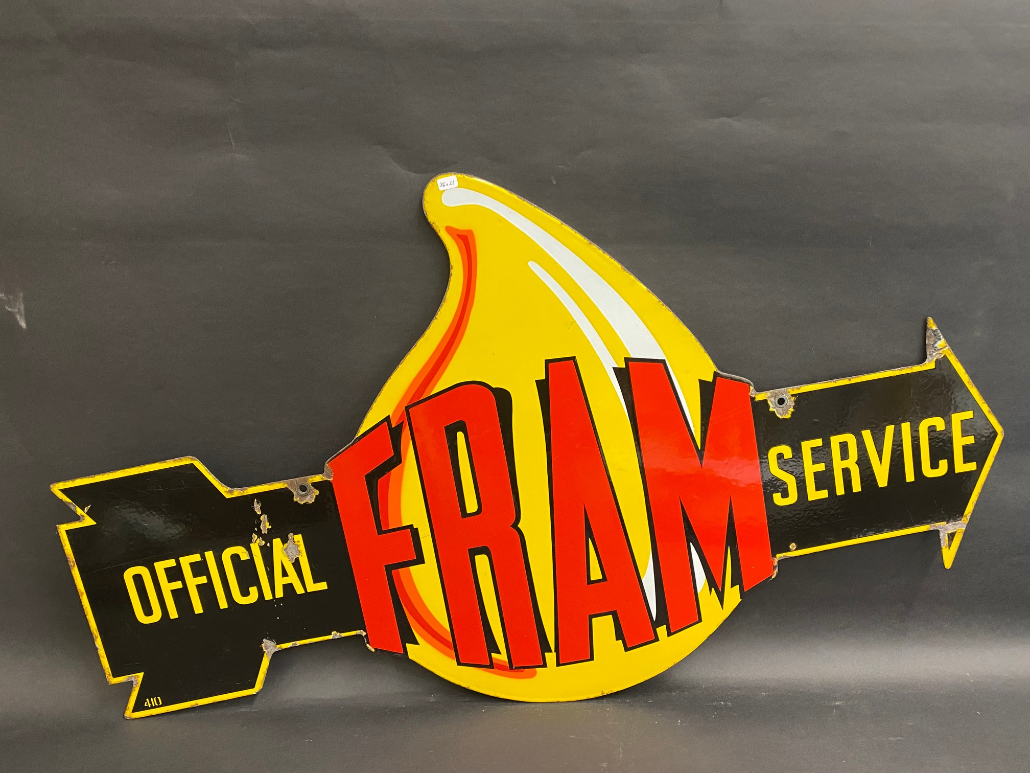 """A very rare Fram 'Official Service' die-cut double sided enamel sign in superb condition, 36 x 21"""". - Image 6 of 9"""