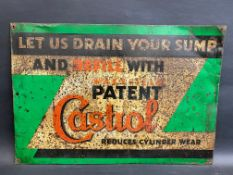 """A Wakefield Patent Castrol 'Let us drain your sump' rectangular tin advertising sign, 22 x 15""""."""