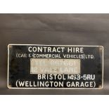 """A rectangular advertising sign for 'Contract Hire' at Wellington Garage, Bristol, 30 x 14""""."""