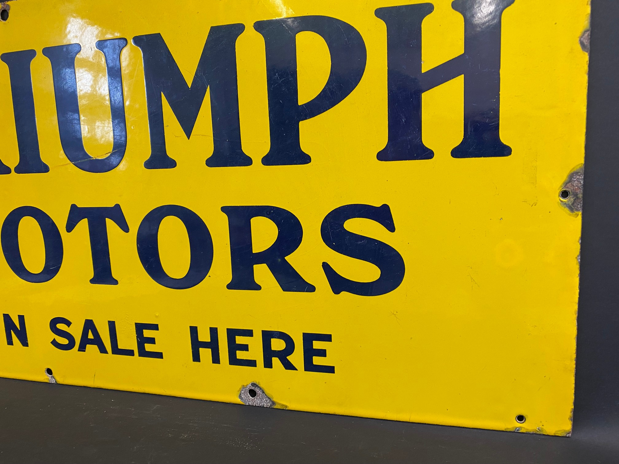 """A Triumph Motors on sale here rectangular enamel sign in excellent condition, 30 x 15"""". - Image 4 of 5"""