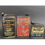 A Chemico Cycle Lubricating Oil oval can, a Searchlight oval can and an Excelene Lubricating Oil