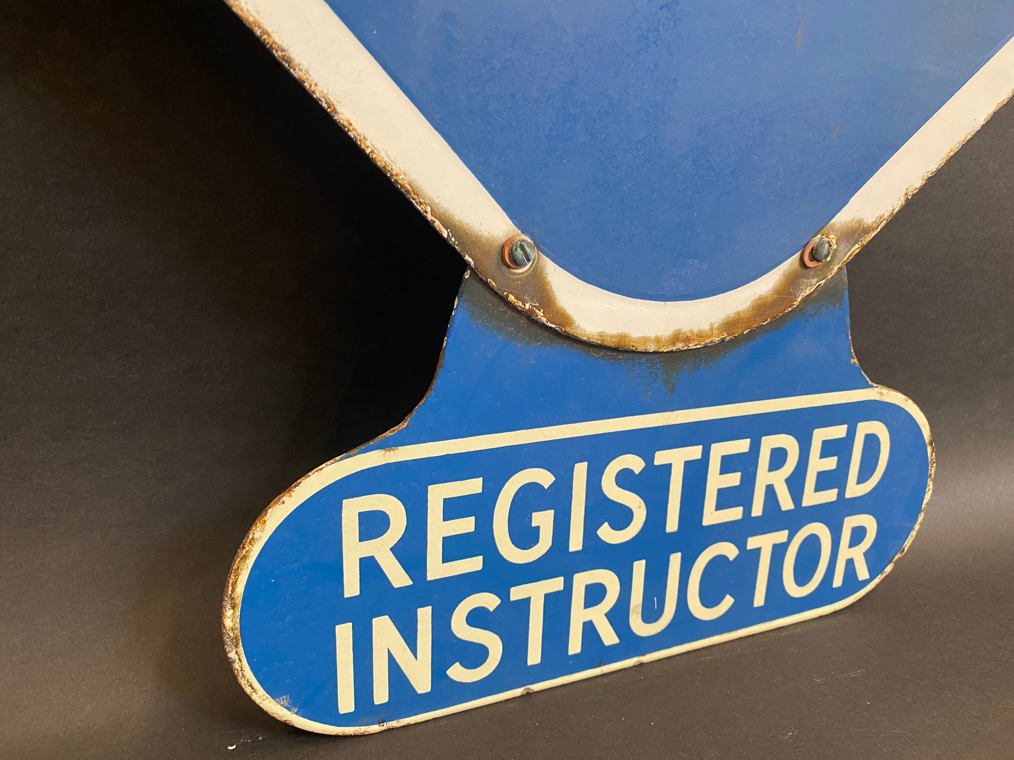 An RAC lozenge shaped double sided enamel sign with hanging hooks and a 'Registered Instructor' - Image 8 of 8