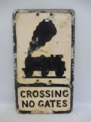 """A reproduction aluminium road sign, Crossing Low Gates stamped Branco Signs Limited, 12 x 21""""."""
