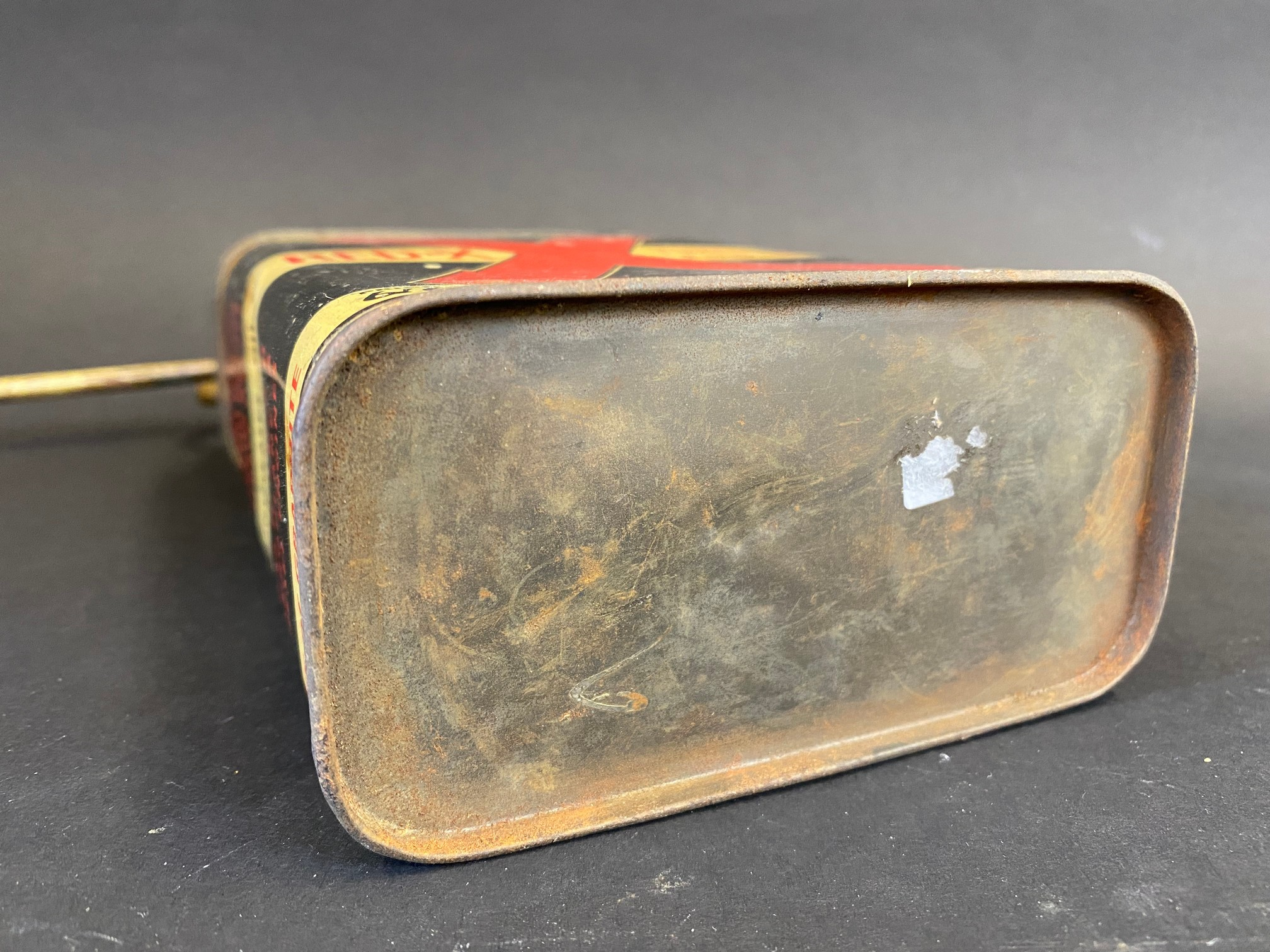 A Redex rectangular quart additive tin with brass plunger and spout. - Image 4 of 4