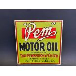 "A PEM Motor Oil showcard, 12 x 12""."