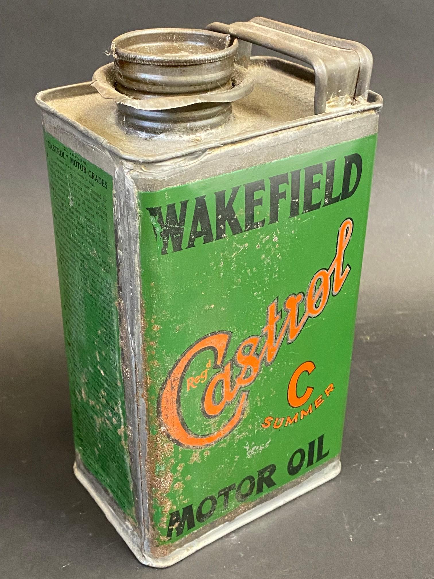A Wakefield Castrol Motor Oil 'C Summer' grade rectangular quart can.