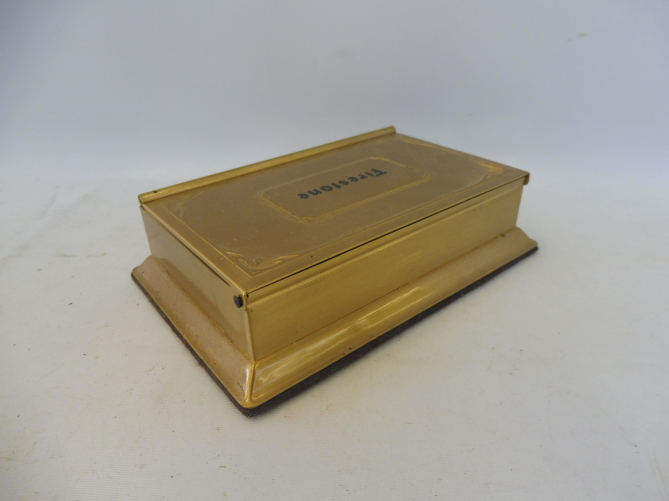 A Firestone tyres advertising brass paper note holder and calendar. - Image 3 of 4