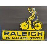 A Raleigh 'The All-Steel Bicycle' die-cut enamel sign by Wildman & Meguyer, in very good