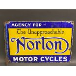A rare Norton Motor Cycles double sided enamel sign with hanging flange by Patent Enamel,