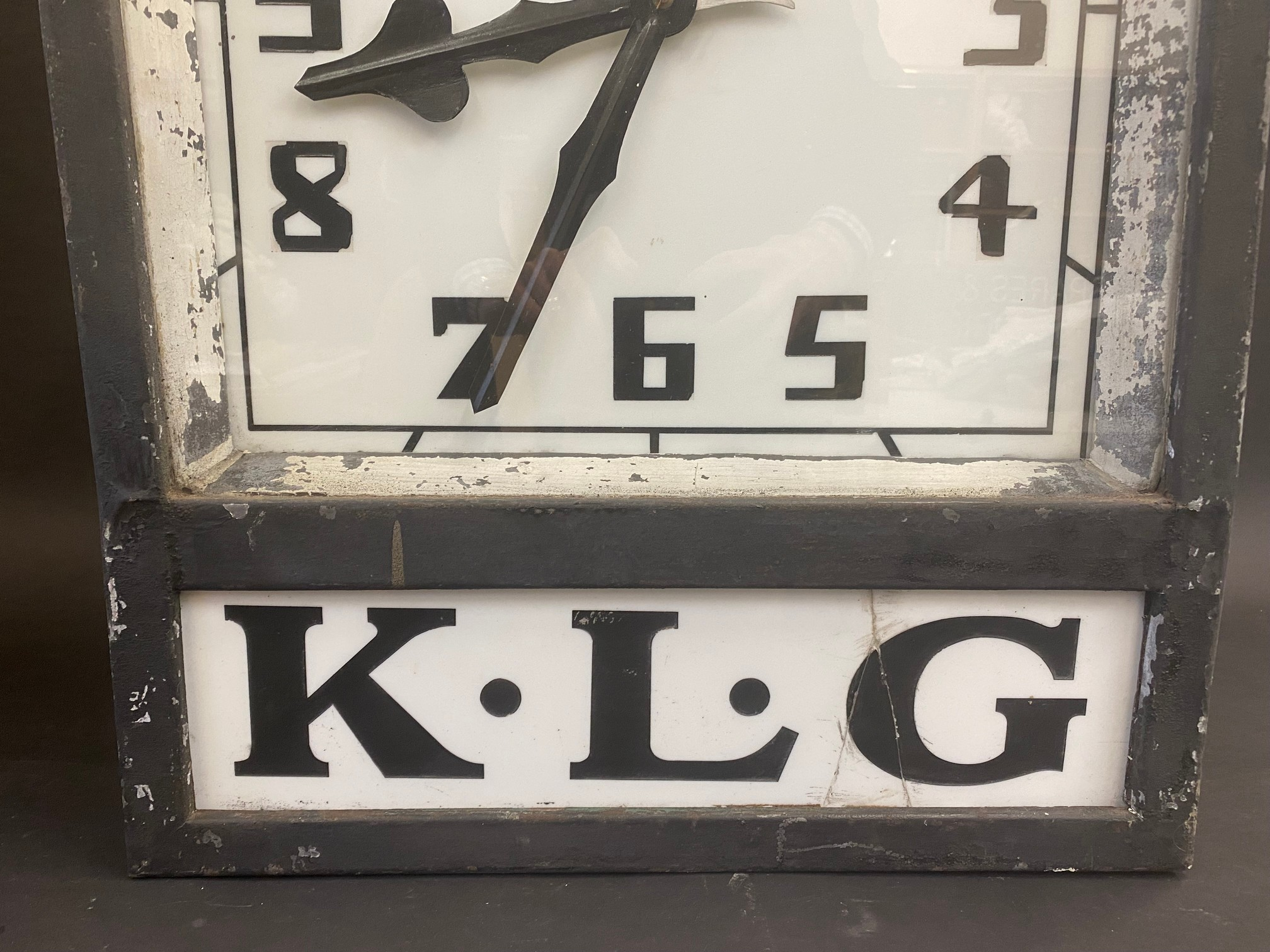 A K.L.G. garage forecourt double sided hanging clock of unusual and attractive form, in very - Image 10 of 12