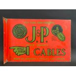 A J&P (Johnson & Phillips) Cables double sided enamel sign with hanging flange, good condition, 18 x