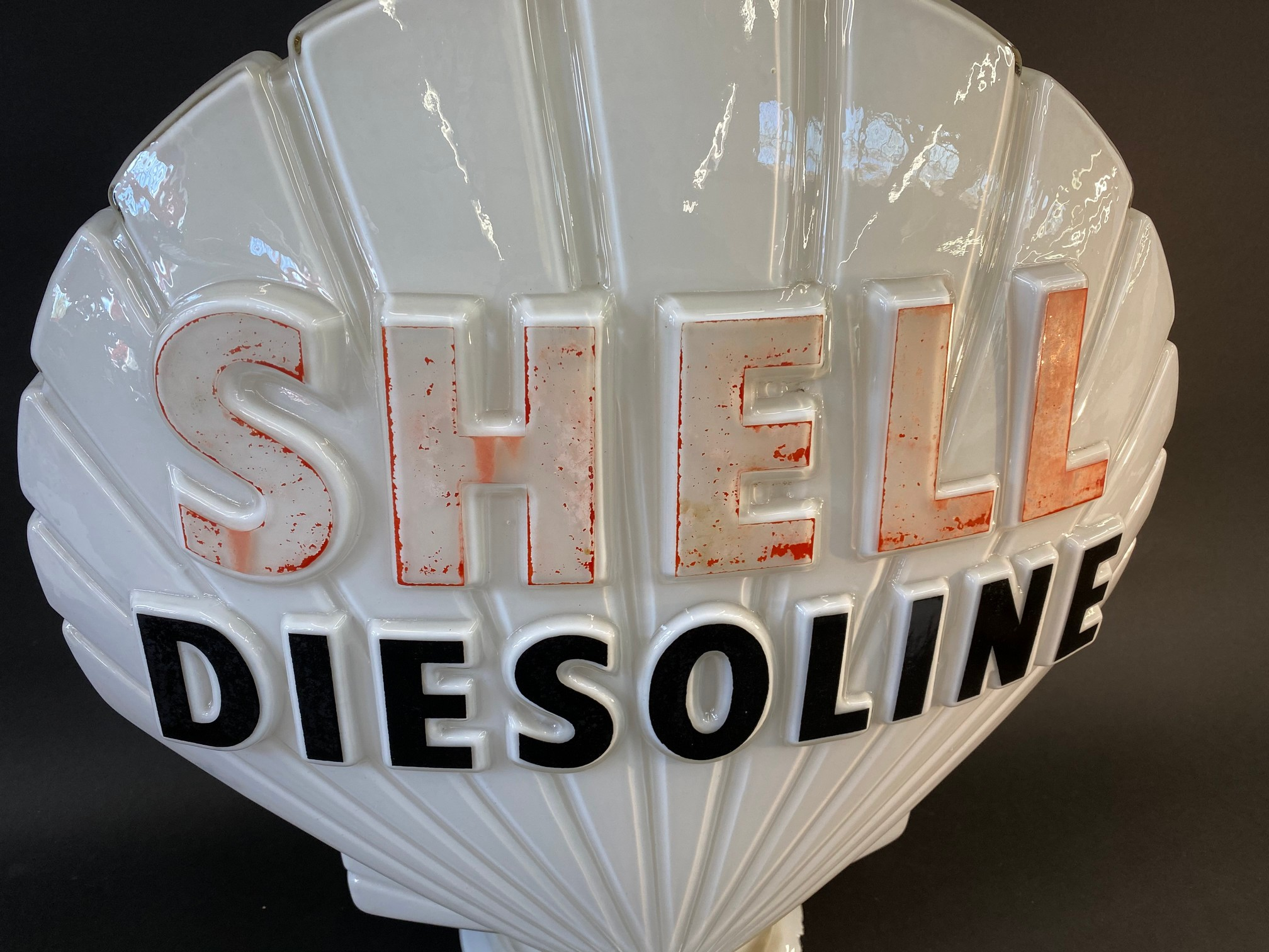 A Shell Diesoline glass petrol pump globe by Hailware, faint stamps underneath, minor nibbles to - Image 3 of 4