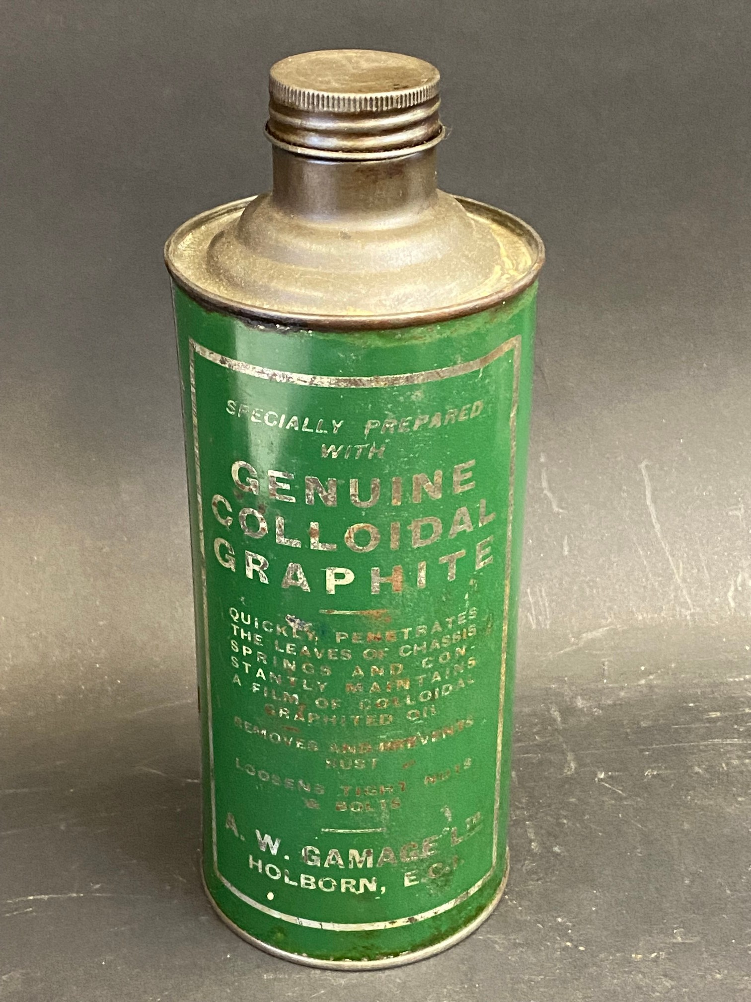 A Gamages Holborn Penetrating Spring Oil cylindrical quart can in good condition. - Image 2 of 4