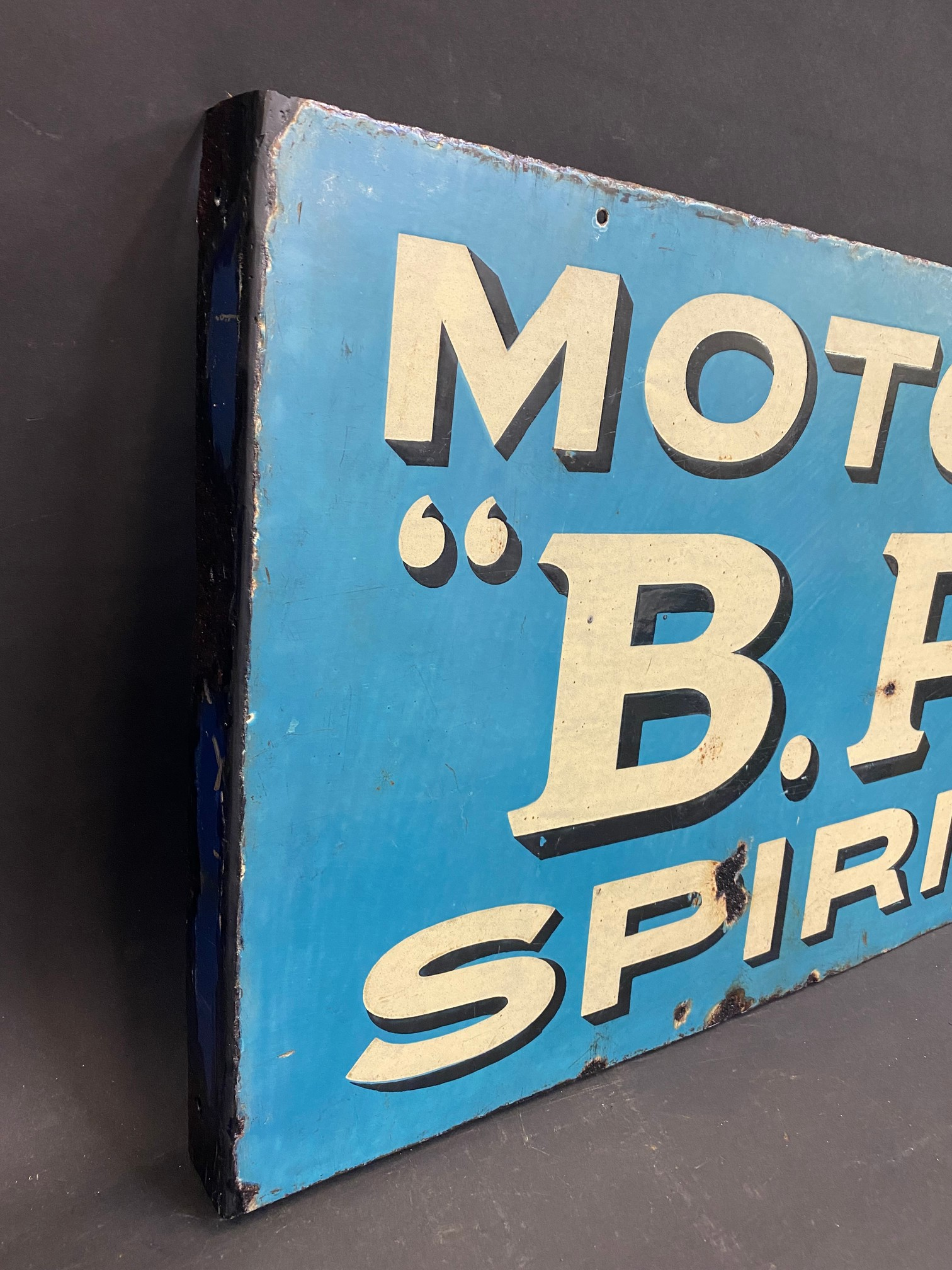 An early and rarely seen B.P. Motor Spirit double sided enamel sign with hanging flange (re- - Image 5 of 5