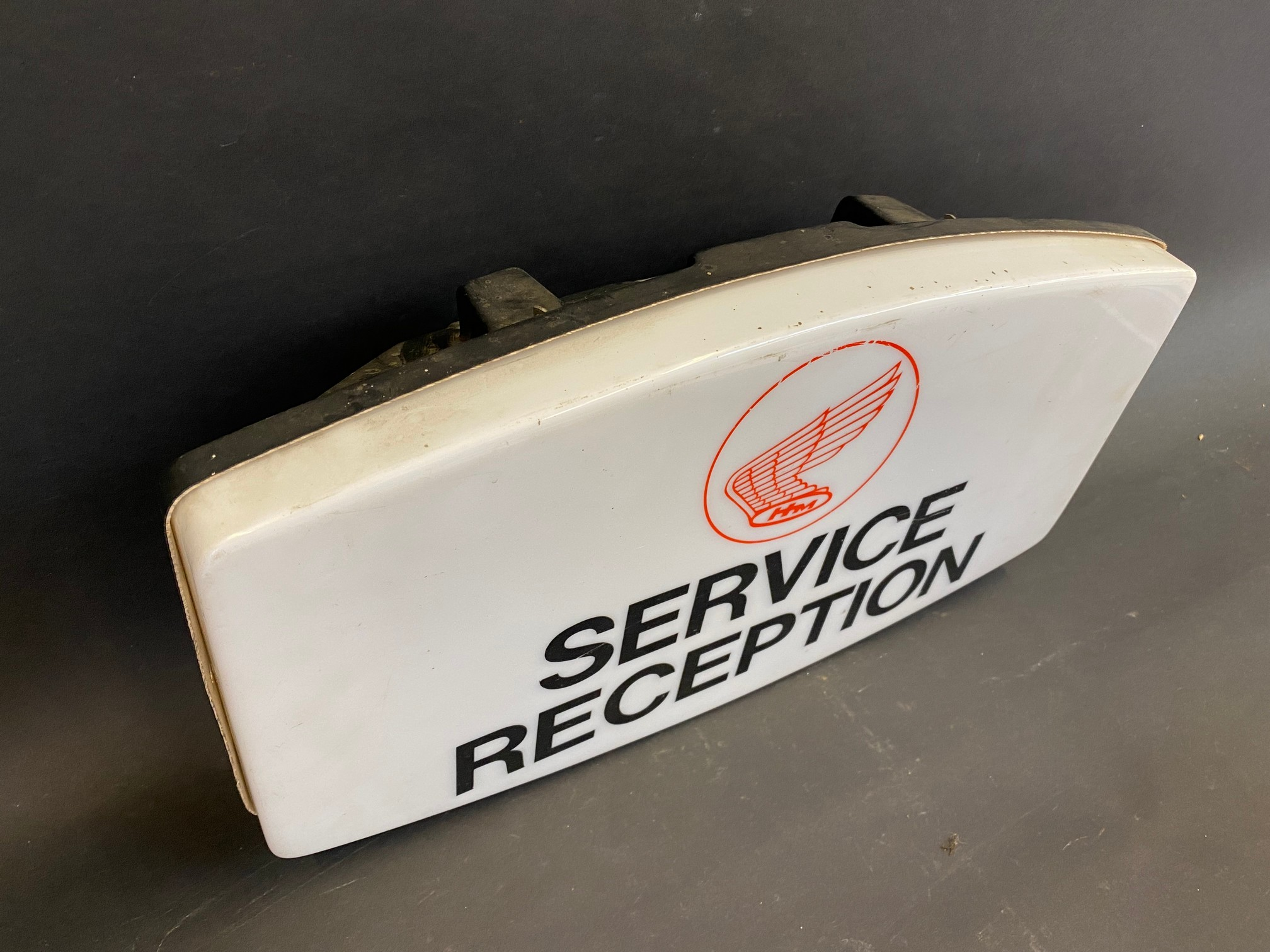 """A late 1960s/early 1970s Honda Motorcycles 'Service Reception' showroom illuminated sign, 18"""" wide x - Image 2 of 3"""
