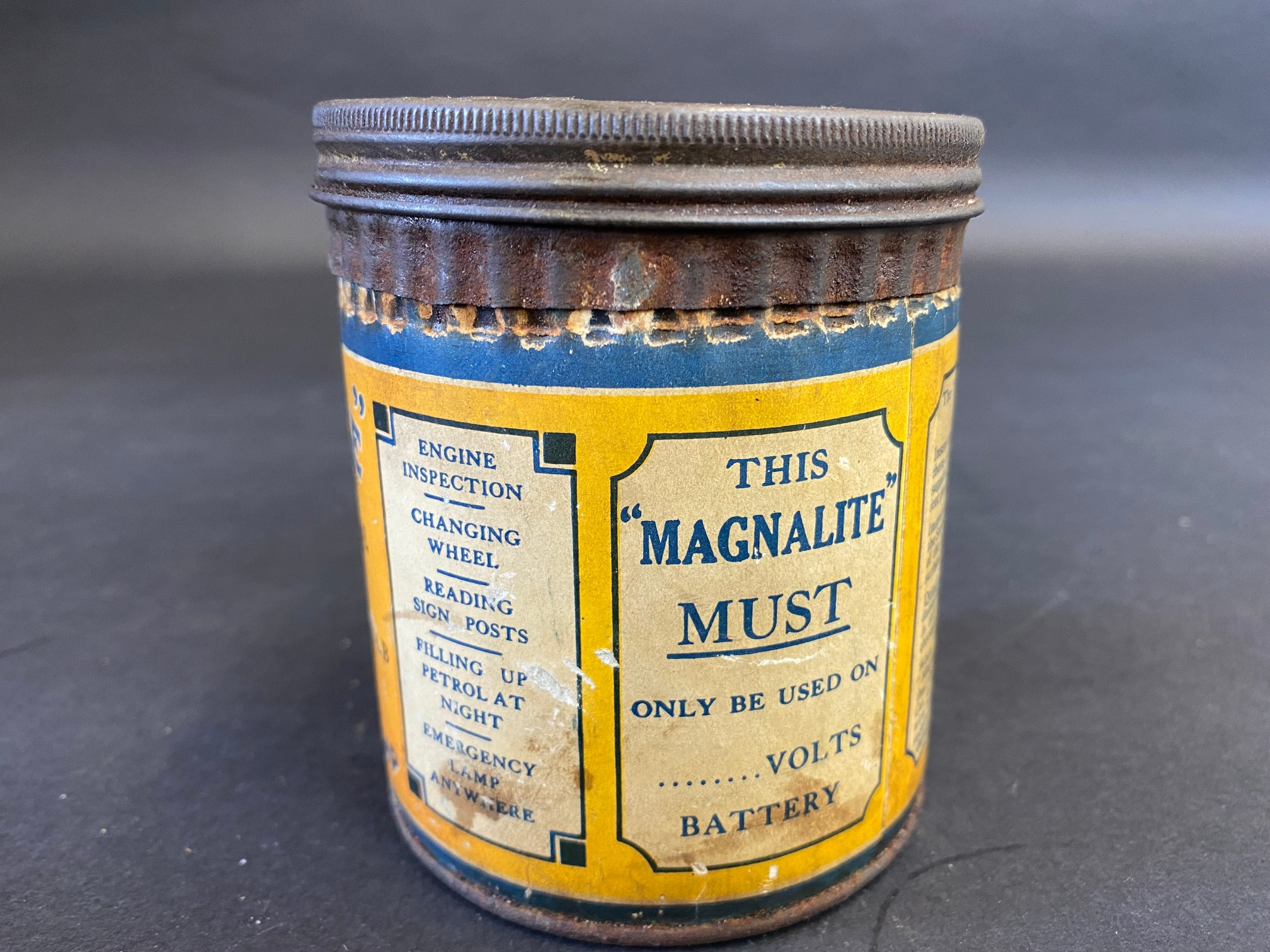 A 'Magnalite' tin with original inspection lamp contents. - Image 2 of 6