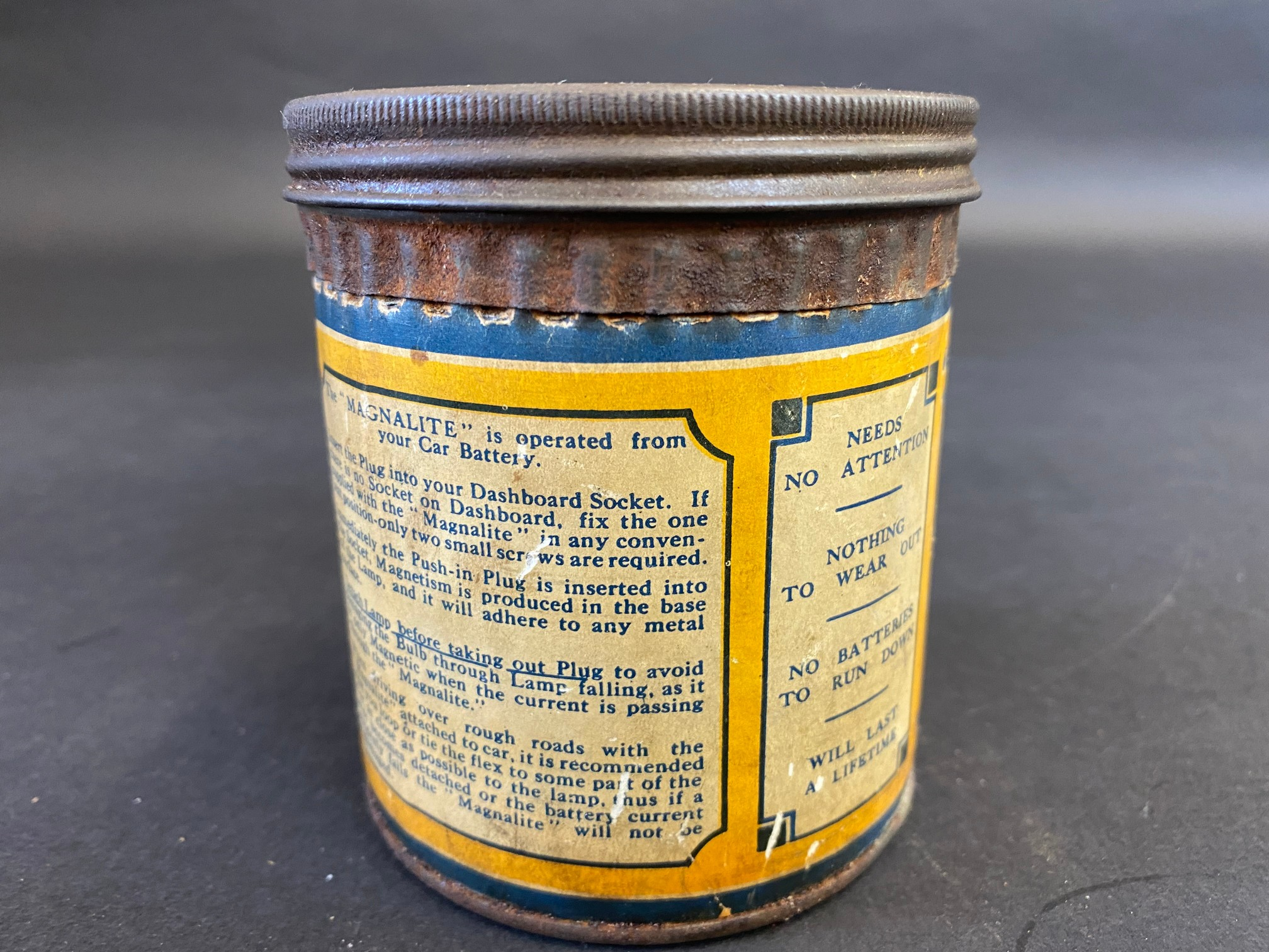 A 'Magnalite' tin with original inspection lamp contents. - Image 3 of 6
