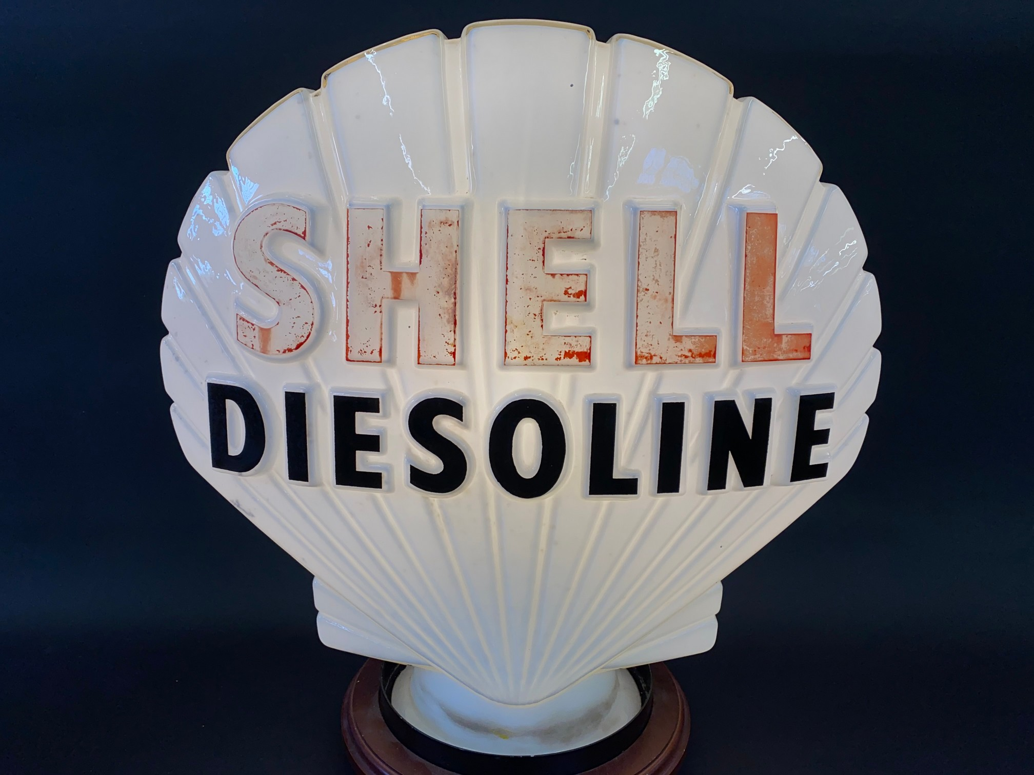 A Shell Diesoline glass petrol pump globe by Hailware, faint stamps underneath, minor nibbles to - Image 2 of 4