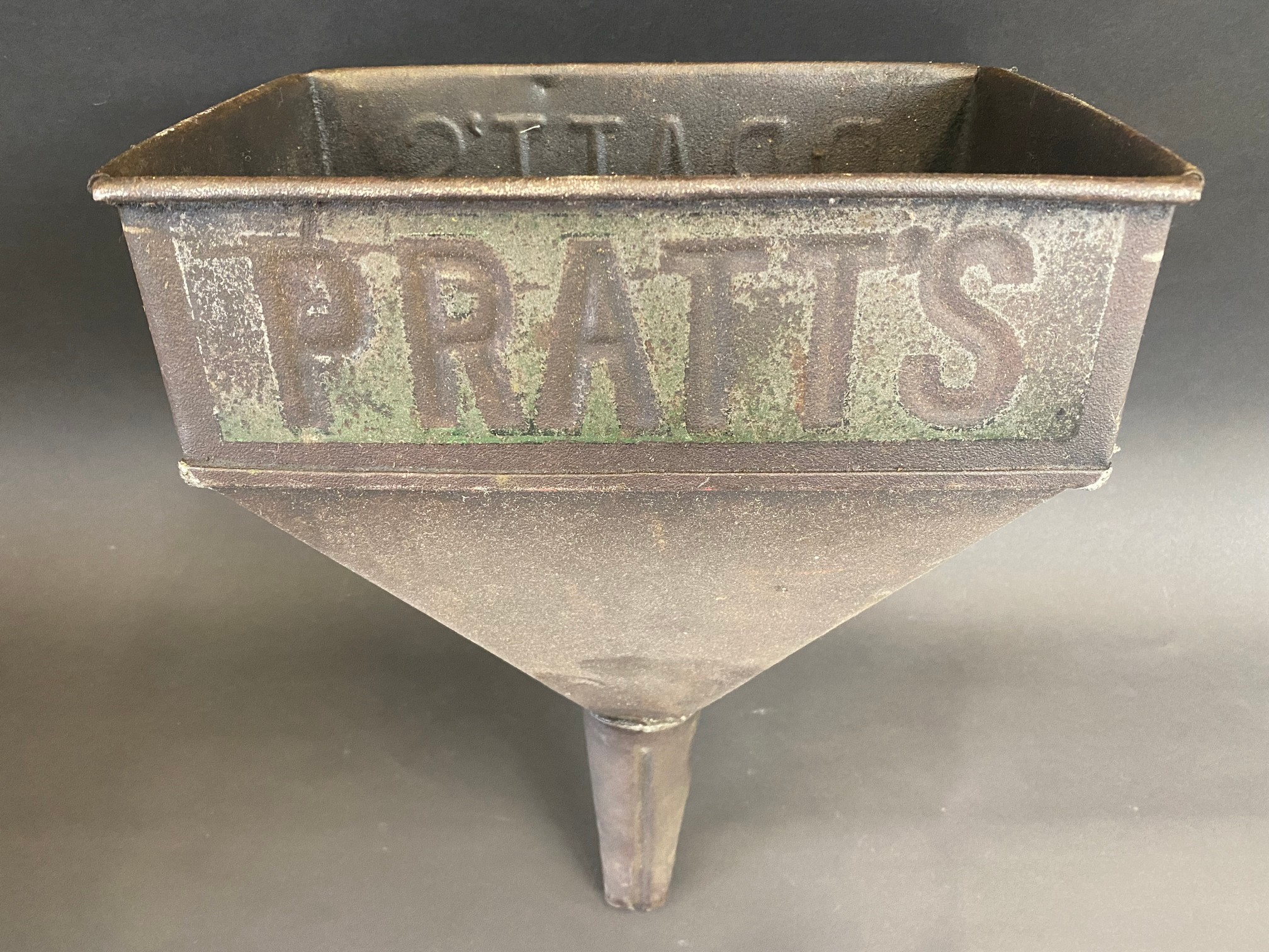 A Pratts rectangular funnel with embossed lettering and traces of original green paint. - Image 3 of 4