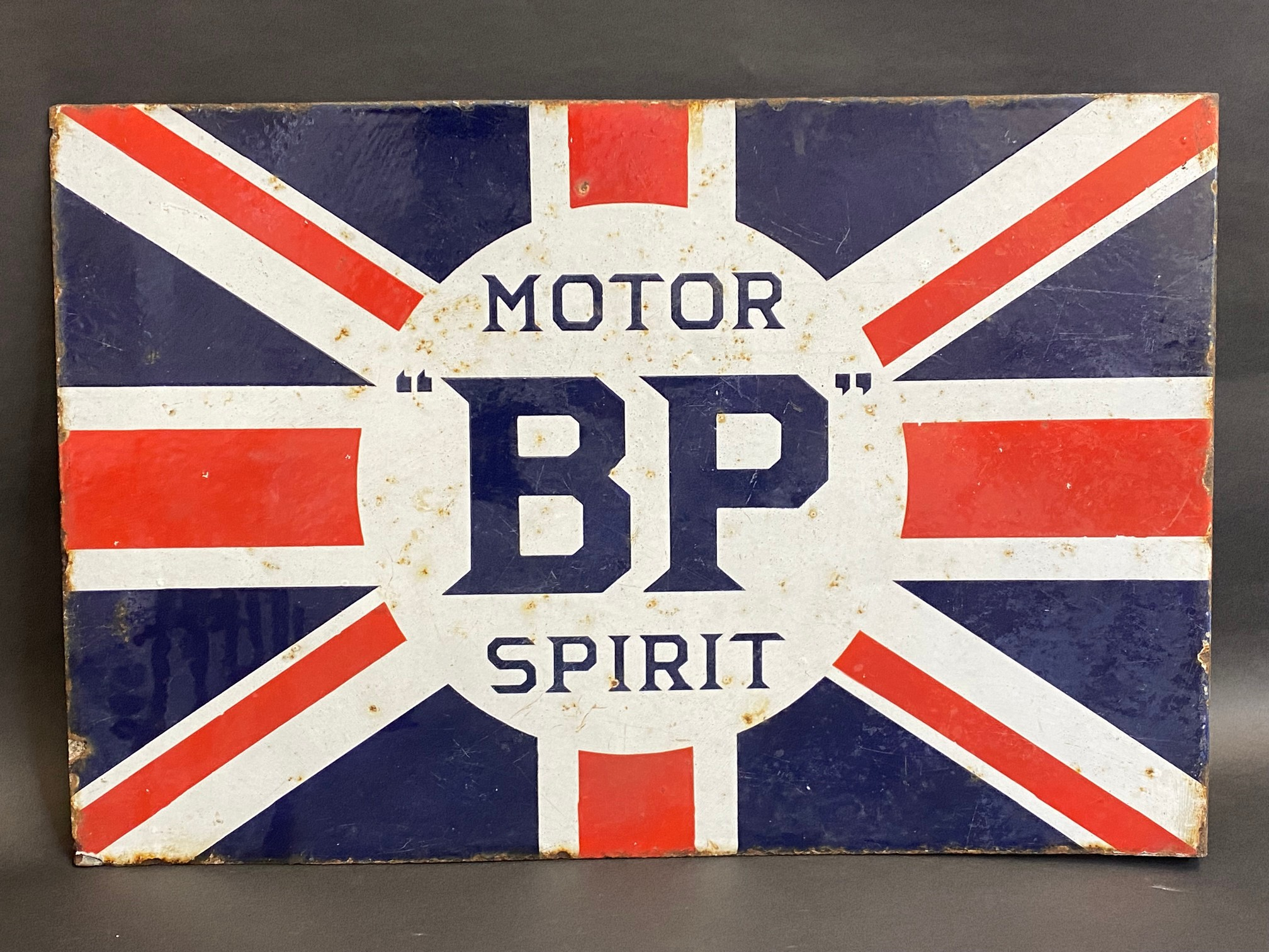 """A BP Motor Spirit 'Union Jack' double sided enamel sign with hanging flange by Franco, 24 x 16"""". - Image 5 of 6"""