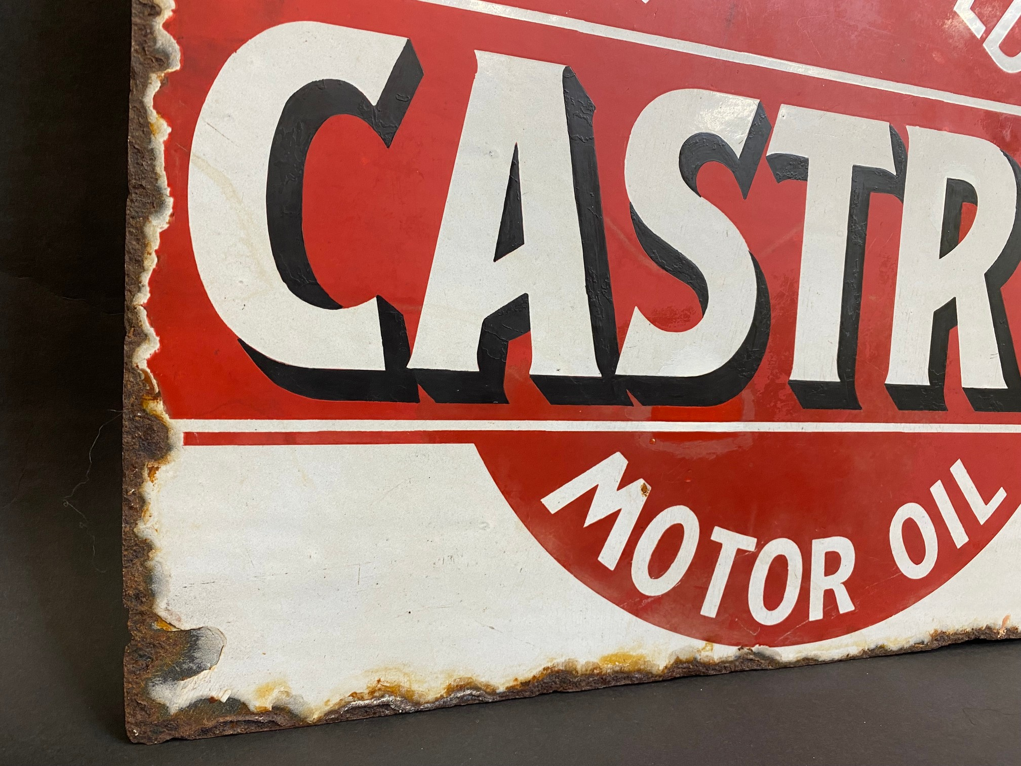 An early Wakefield Castrol Motor Oil double sided enamel sign with hanging flange, rare red and - Image 6 of 7