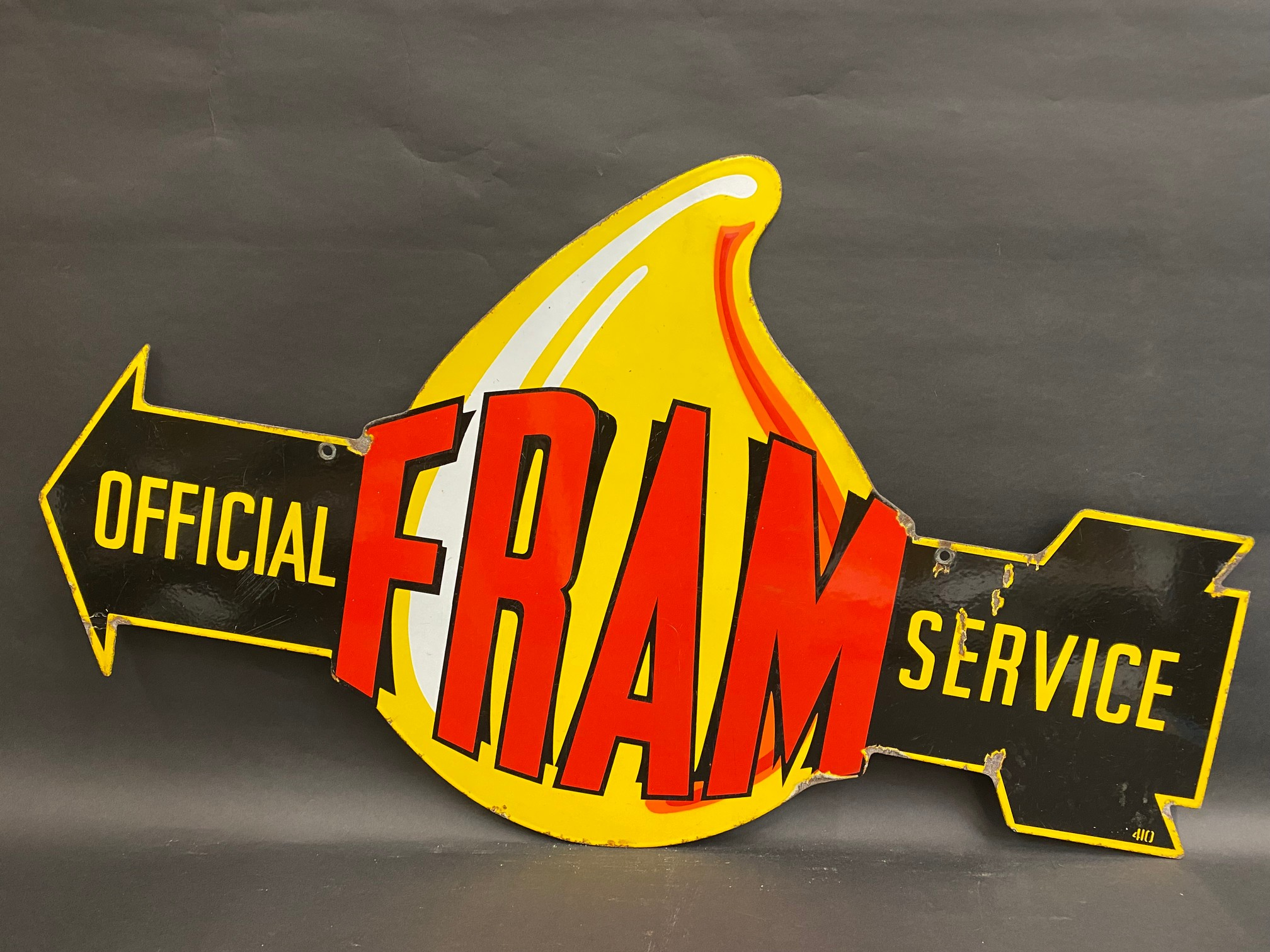"""A very rare Fram 'Official Service' die-cut double sided enamel sign in superb condition, 36 x 21""""."""