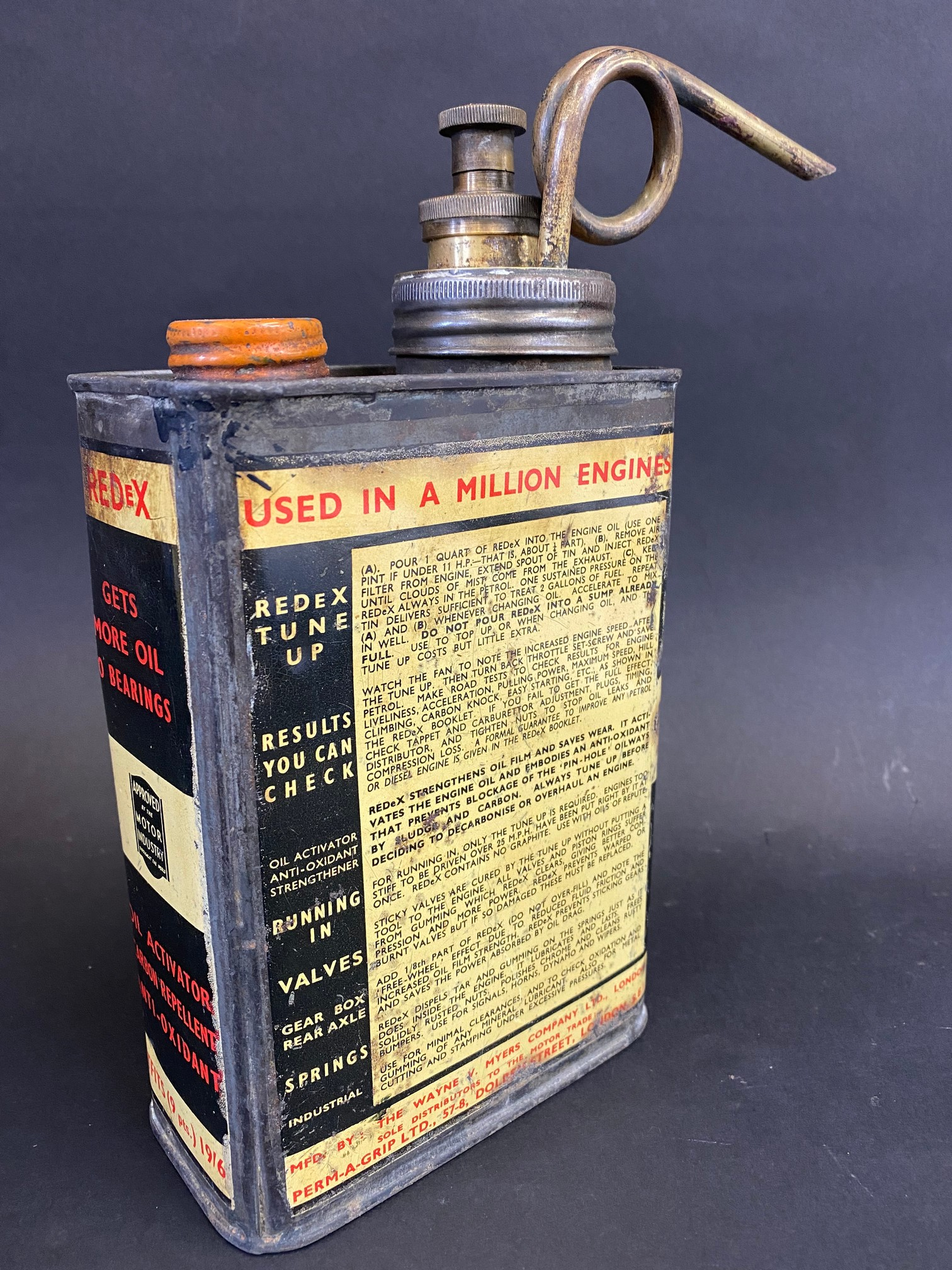 A Redex rectangular quart additive tin with brass plunger and spout. - Image 2 of 4