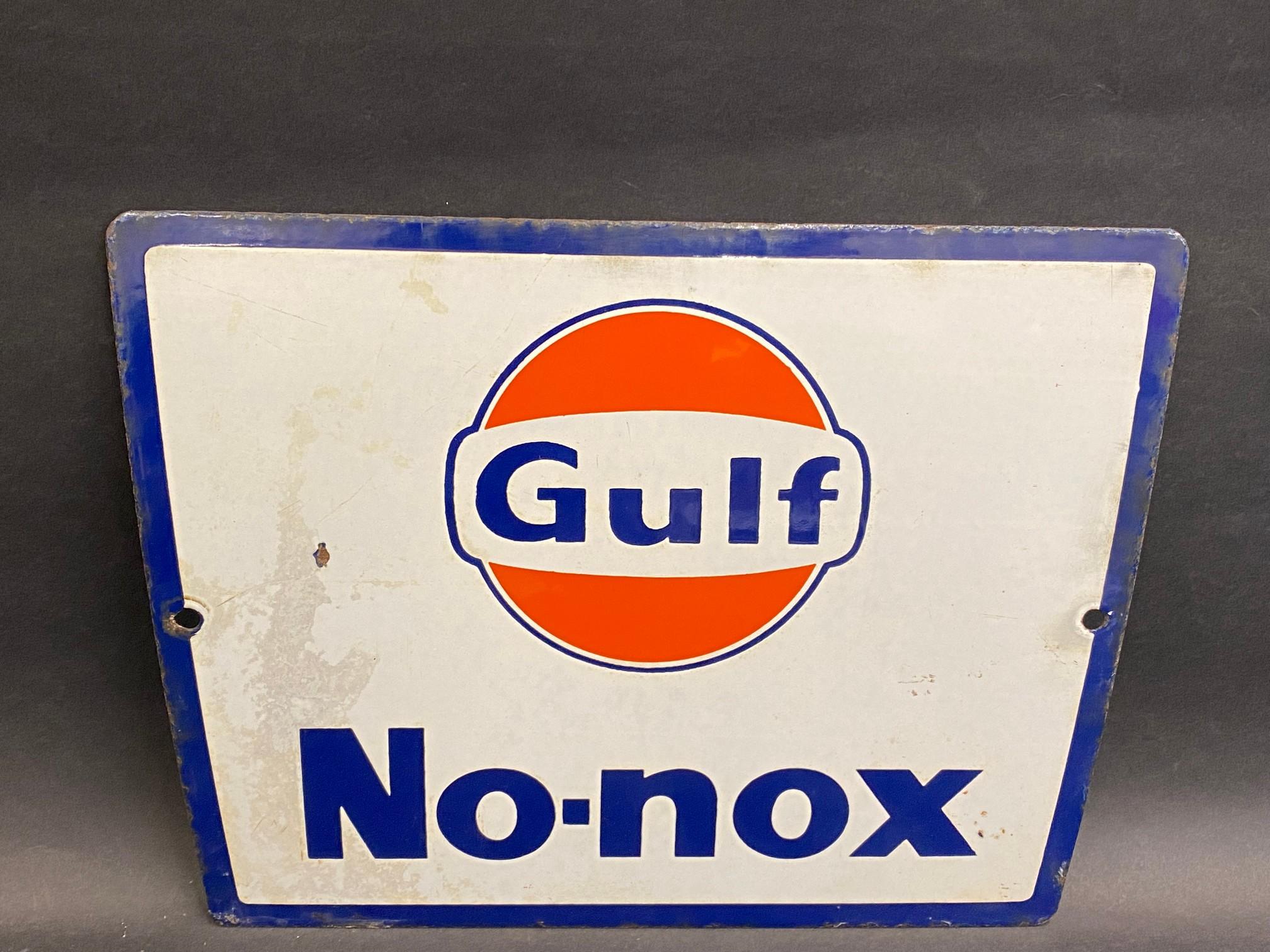 "A Gulf No-nox enamel petrol pump sign, circa late 1960s/early 1970s, 11 x 9""."