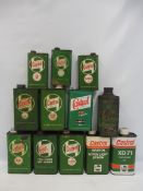 A crate of assorted Castrol oil cans.