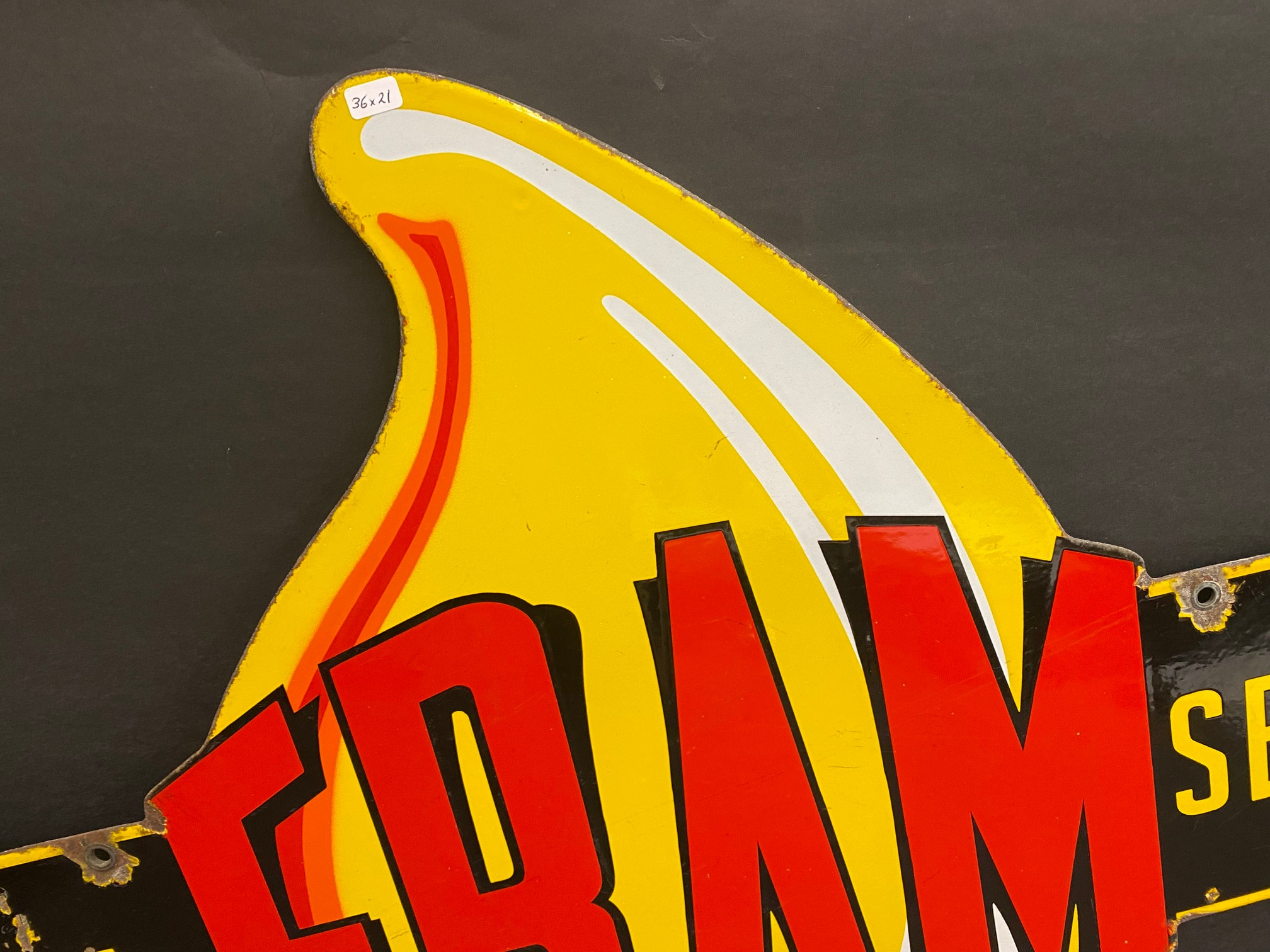 """A very rare Fram 'Official Service' die-cut double sided enamel sign in superb condition, 36 x 21"""". - Image 8 of 9"""