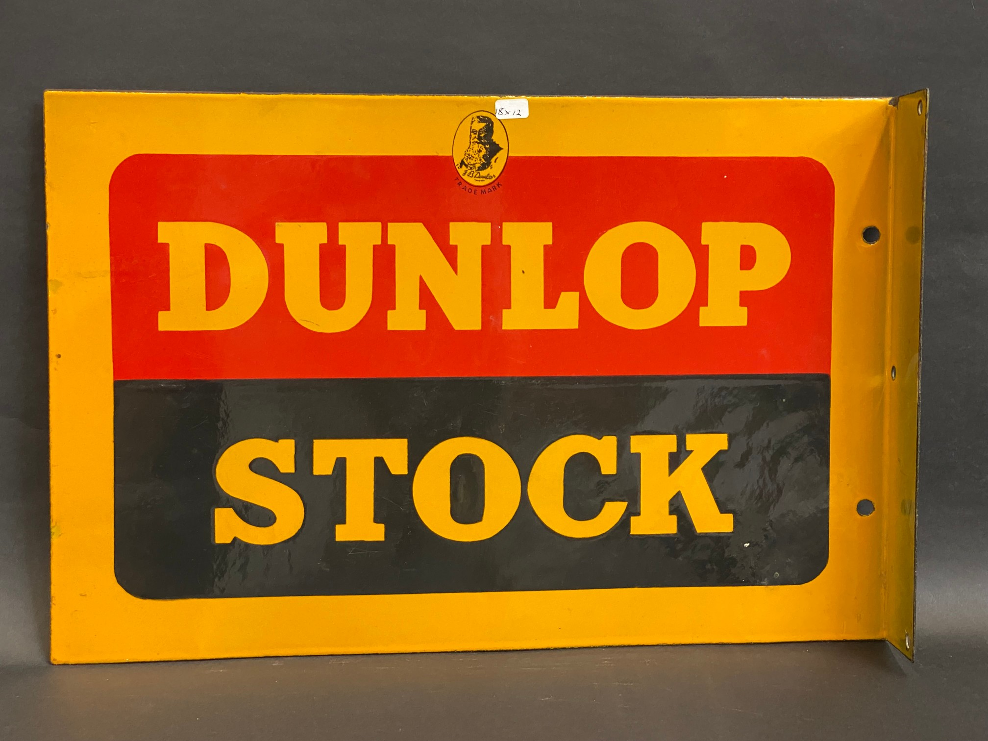 A Dunlop Stock double sided enamel sign with hanging flange, in near mint condition, made by Sur - Image 4 of 4