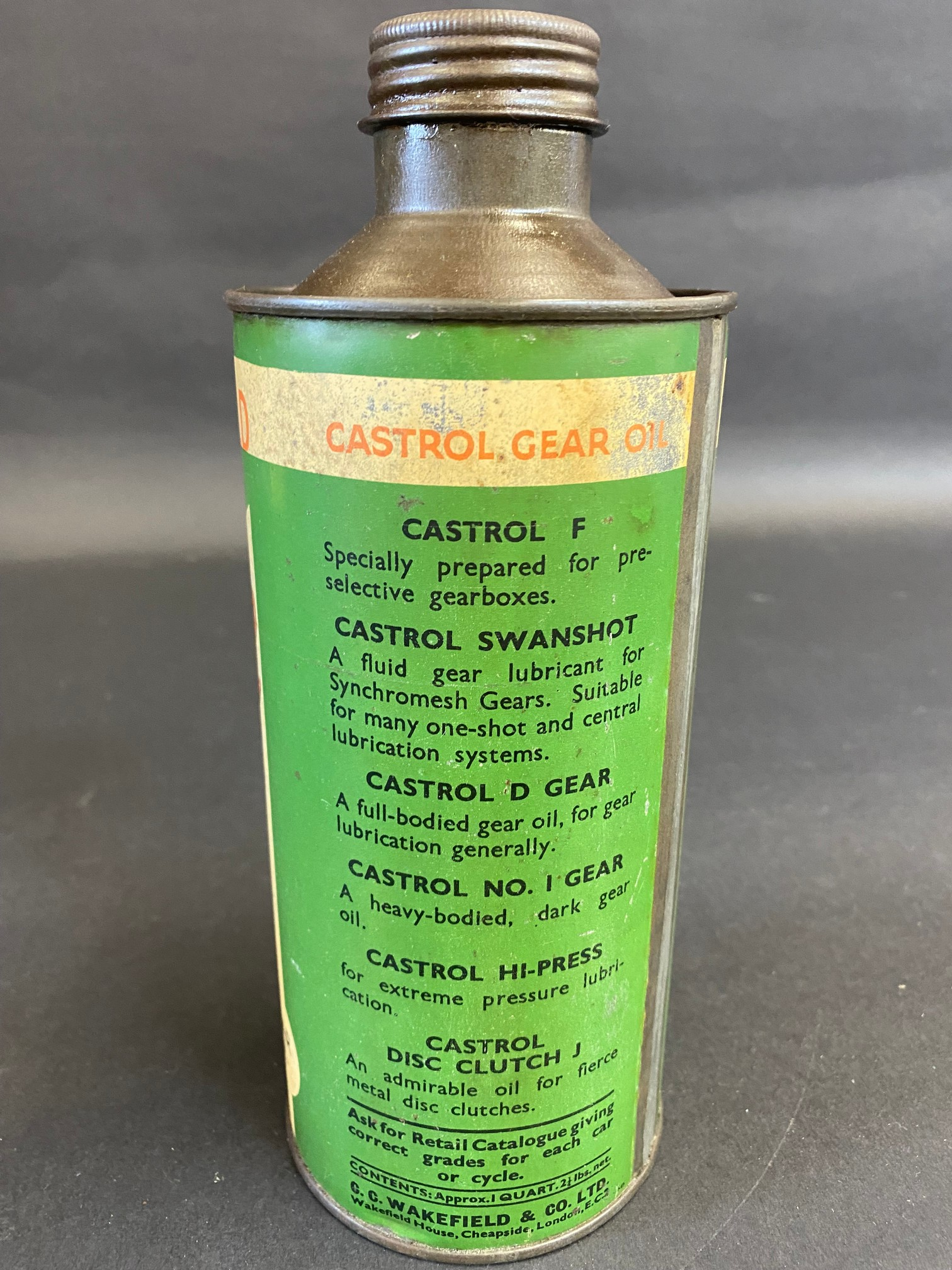 A Wakefield Castrol Gear Oil cylindrical quart can. - Image 2 of 5