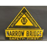 An AA Safety First enamel road sign for 'Narrow Bridge' by Franco, excellent condition and gloss, 26
