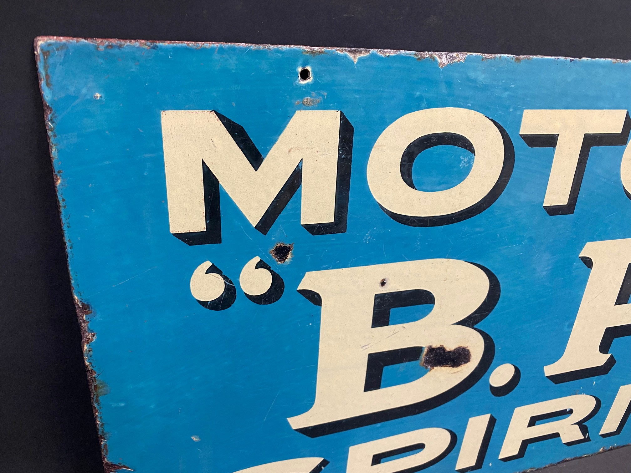 An early and rarely seen B.P. Motor Spirit double sided enamel sign with hanging flange (re- - Image 3 of 5