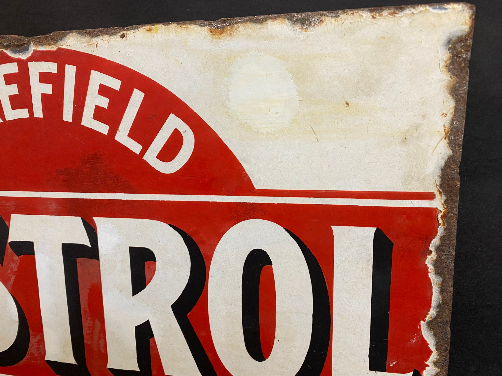 An early Wakefield Castrol Motor Oil double sided enamel sign with hanging flange, rare red and - Image 3 of 7