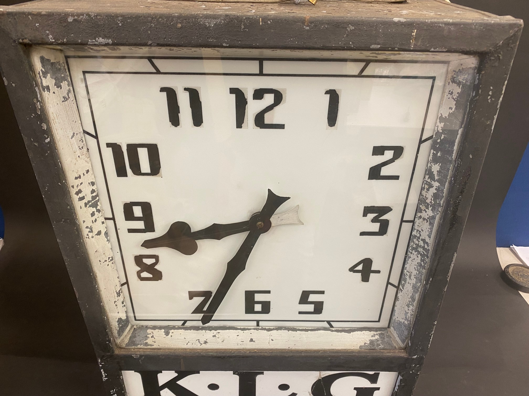 A K.L.G. garage forecourt double sided hanging clock of unusual and attractive form, in very - Image 11 of 12