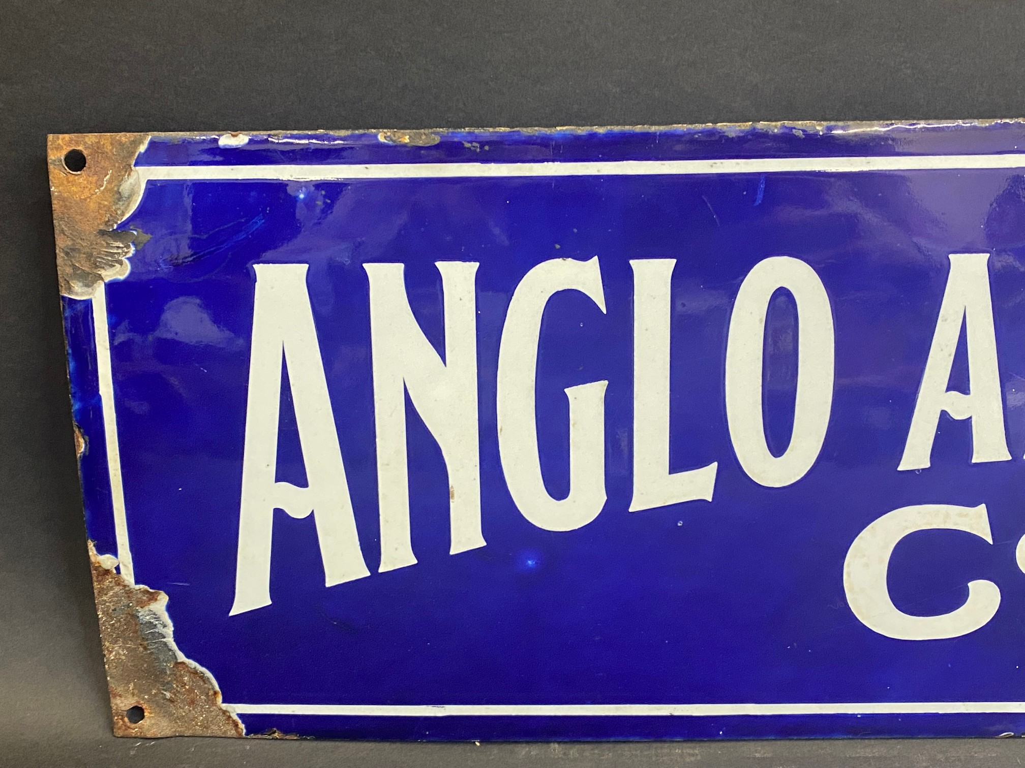 """A rare Anglo American Oil Co Ltd rectangular enamel sign by Bruton of Palmers Green, 27 x 8"""". - Image 2 of 5"""