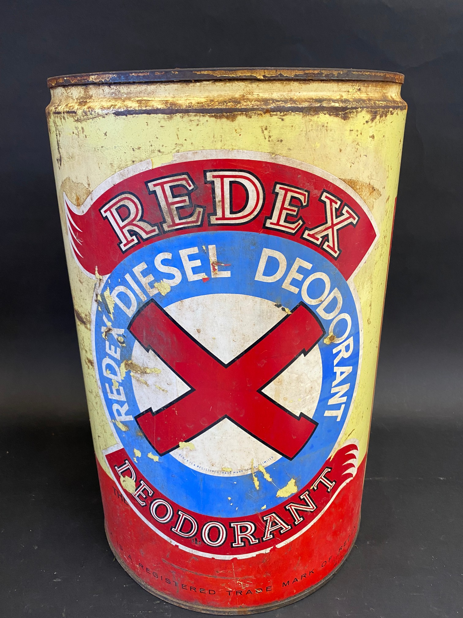 An unusual Redex five gallon drum for 'Redex Diesel Deodorant'.