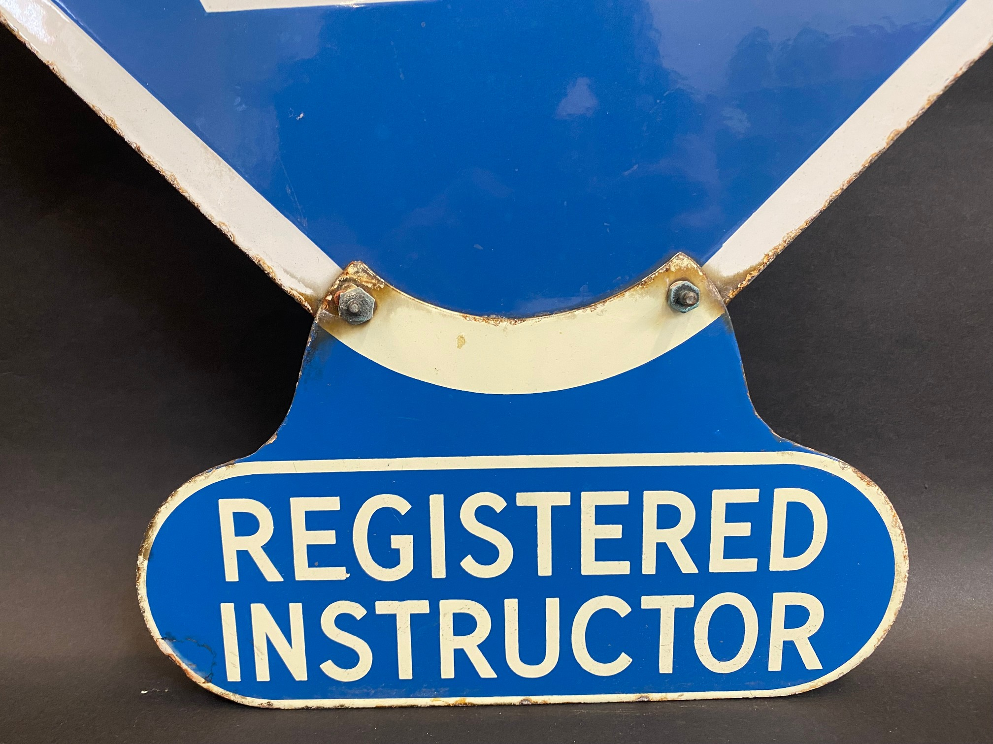 An RAC lozenge shaped double sided enamel sign with hanging hooks and a 'Registered Instructor' - Image 3 of 8