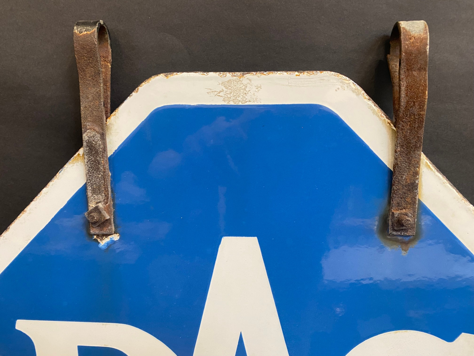 An RAC lozenge shaped double sided enamel sign with hanging hooks and a 'Registered Instructor' - Image 2 of 8
