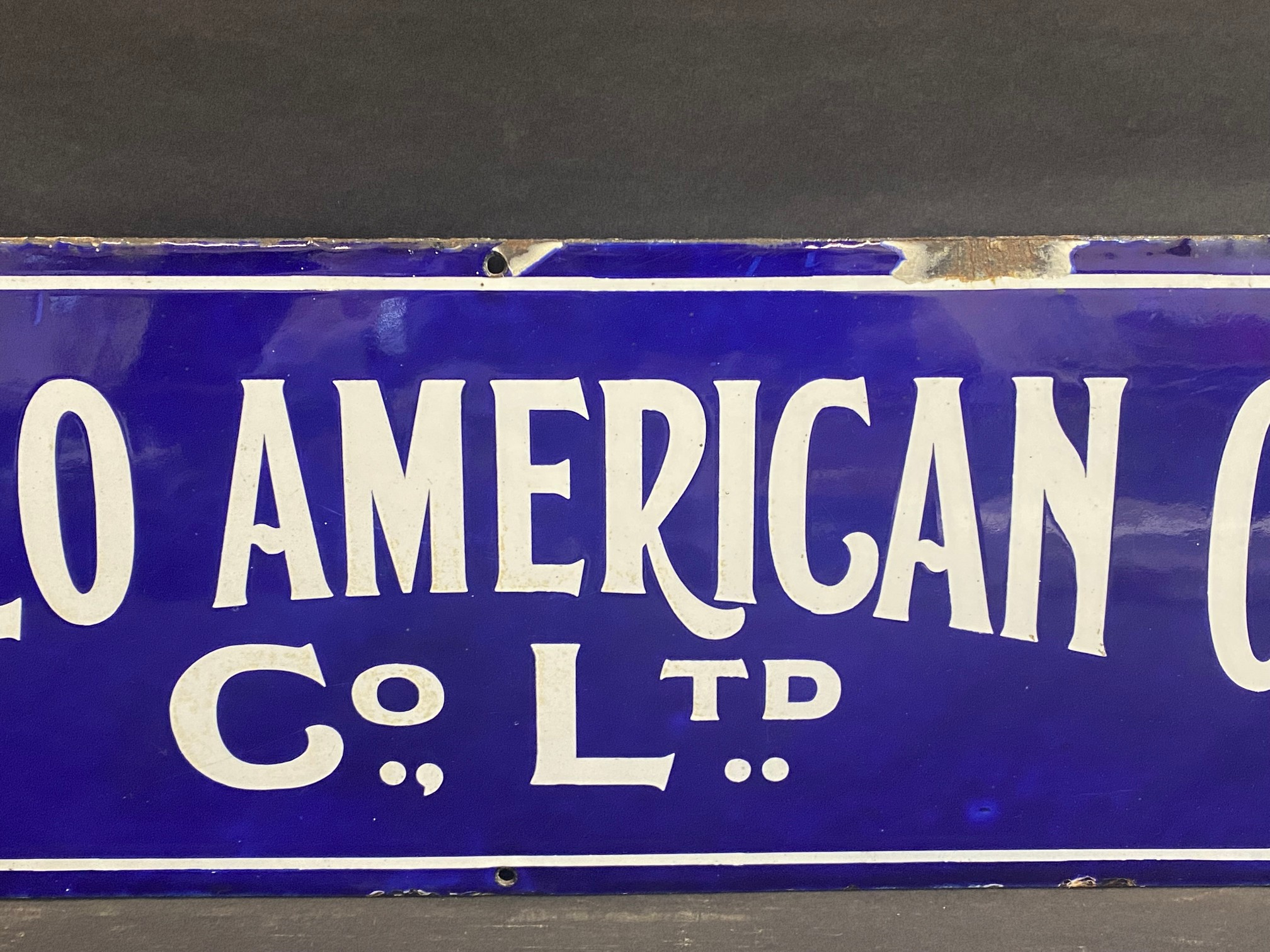 """A rare Anglo American Oil Co Ltd rectangular enamel sign by Bruton of Palmers Green, 27 x 8"""". - Image 3 of 5"""