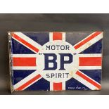 """A BP Motor Spirit 'Union Jack' double sided enamel sign with hanging flange by Franco, 24 x 16""""."""