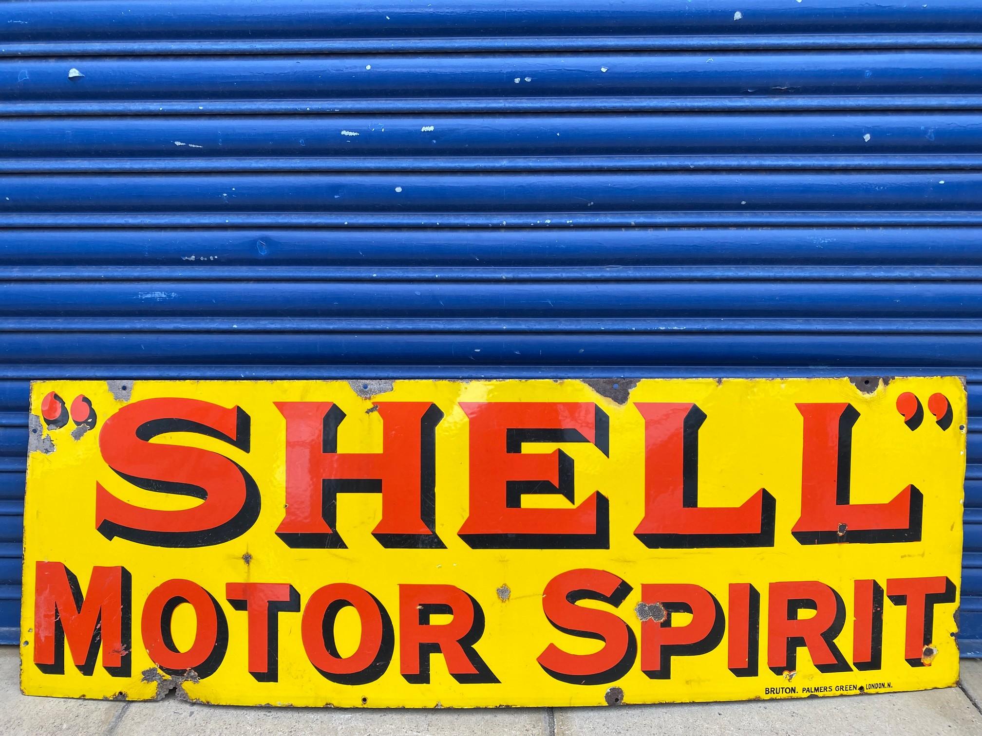 A Shell Motor Spirit rectangular enamel sign by Bruton of Palmers Green, excellent original