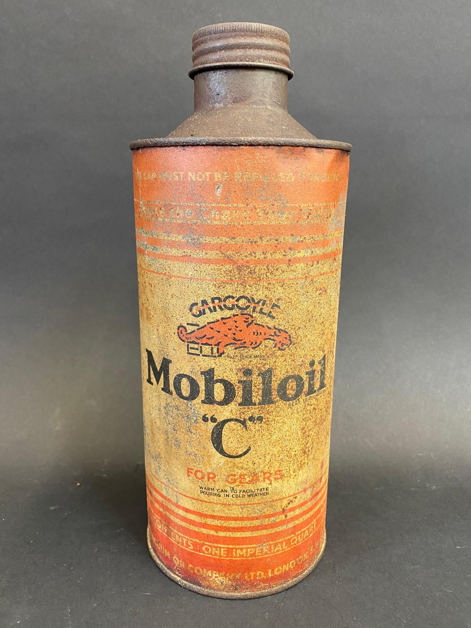A 'Gargoyle Mobiloil 'C' grade cylindrical quart can.