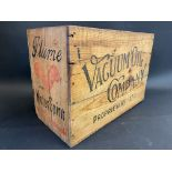 A Vacuum Oil Company 'Plume Motor Spirit' wooden packing crate.