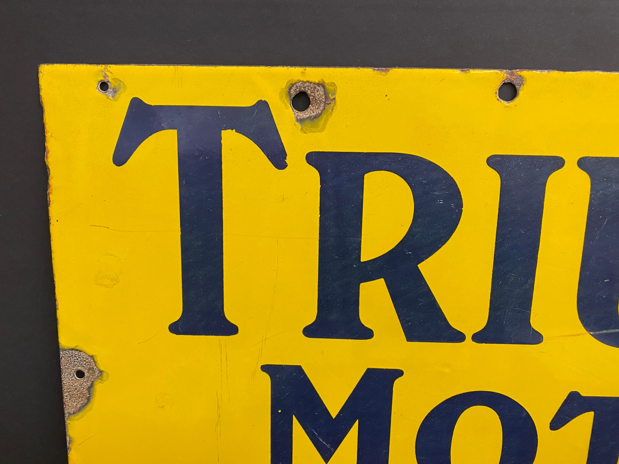 """A Triumph Motors on sale here rectangular enamel sign in excellent condition, 30 x 15"""". - Image 2 of 5"""