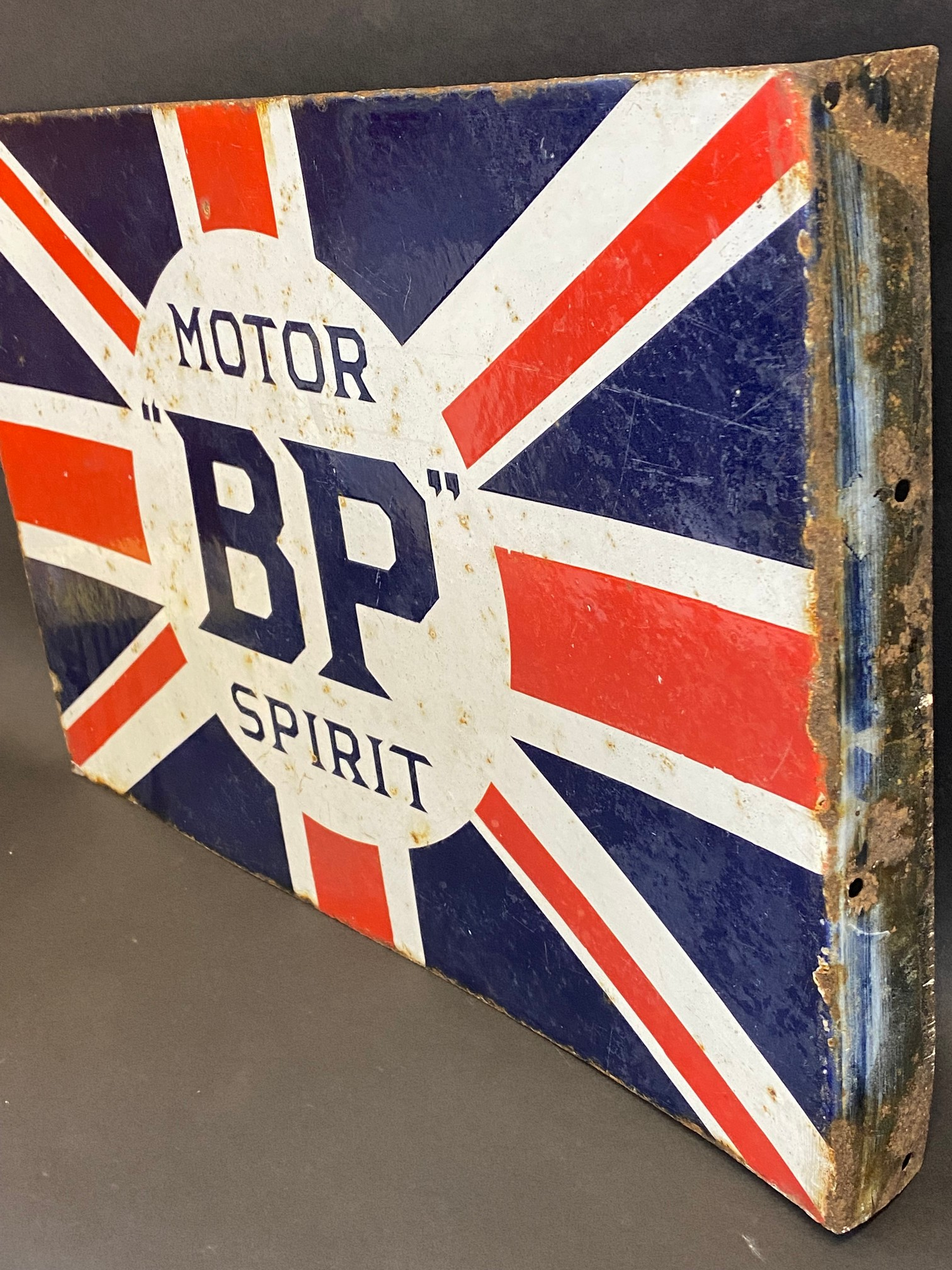 """A BP Motor Spirit 'Union Jack' double sided enamel sign with hanging flange by Franco, 24 x 16"""". - Image 6 of 6"""